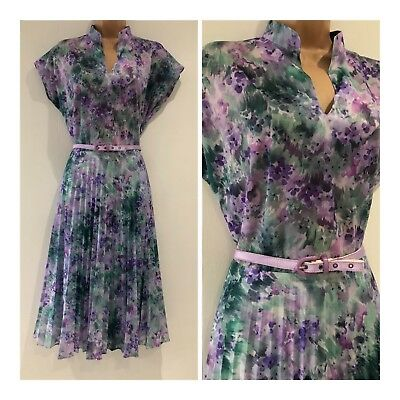 Vintage 80's Purple Pink & Green Floral Belted Pleated Day Tea Dress Size 12-14
