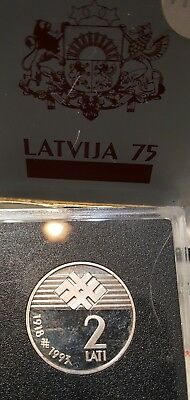 LATVIA 2 LatI 1993 Proof  Silver coin  Proclamation of the Republic