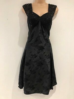 Vintage 1980's Black Floral Jacquard Bead Detail Cupped Party Evening Dress 10