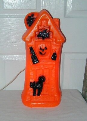"""Vintage Haunted House Blow Mold Light Halloween Witch Cat Pumpkin 17"""" NEW"""