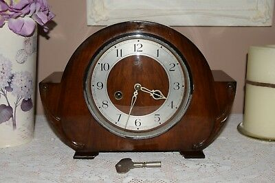 Vintage SMITHS Enfield Oak Mantle Clock with key - Good Working.