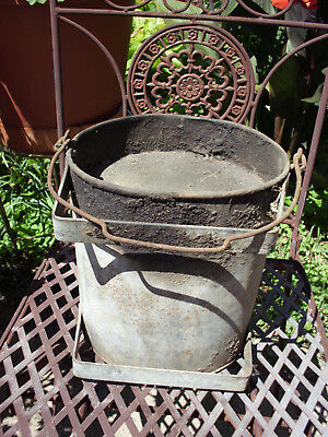 "Antique Galvanized Steel Skuttle Ash Bucket W/bail Handle 9"" H X 8.5"" Dia Unique"