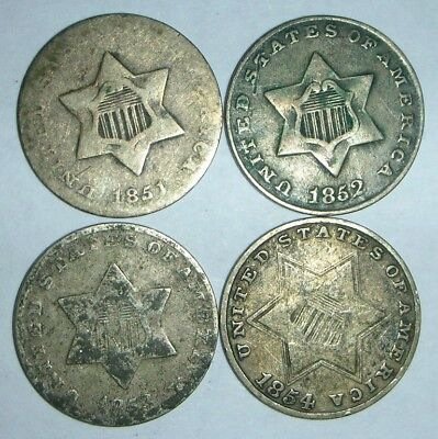 Silver Three Cent Pieces 1851, 1852, 1853, 1854