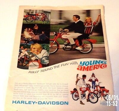 1960s Harley Davidson Full Color Print Advertisement, Young, Motorcycle Riders