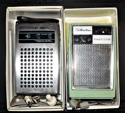 2 Vintage Radios- Working Silvertone 6 -Realistic Jetstream Mini- Original Boxes