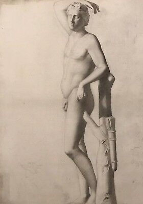 19Th Century French Classical Realist Atelier Academie Drawing Roman Male Nude
