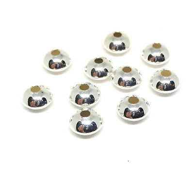 Sterling Silver Saucer UFO Beads Spacer Bead 925 Silver 3mm 4mm 5mm 6mm 7mm 8mm