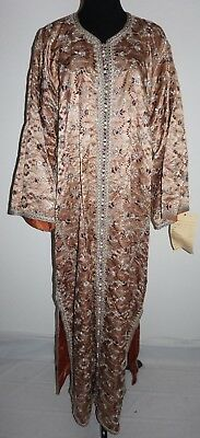 VTG Embroidered Kimono Robe Wedding Silver Peach Plum Satin Asian L/XL