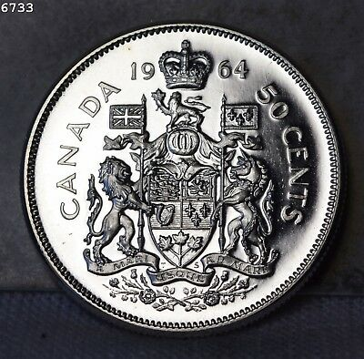 """1964 *Silver* Canada Fifty Cents """"GEM Proof"""" *Free S/H After 1st Item*"""