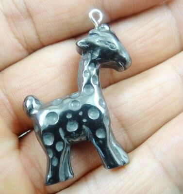 Beautiful  Hematite hand-Carved deer  Gemstone pendant necklace