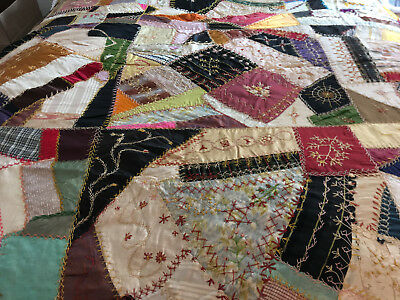 Gorgeous Victorian (Dated 1888) Crazy Quilt-Silks And Velvets