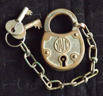 "Original Antique Solid Brass Padlock signed "" YALE TOWNE MFG CO "" w/ 2 Lock Keys"