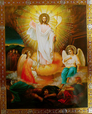 Resurrection - Christian Icon Christ's Resurrection with two angels