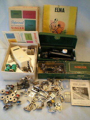Lot Singer Parts and Pieces & Sewing Machine Buttonholer ~Some Vintage