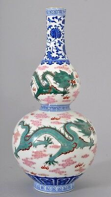 Antique Chinese porcelain Qing dynasty Qianlong Imperial dragon twin gourd vase