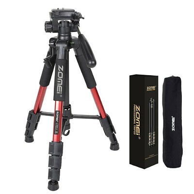 Q111 Red Professional Heavy Duty Table Aluminium Tripod Pan Head Camera For DSLR