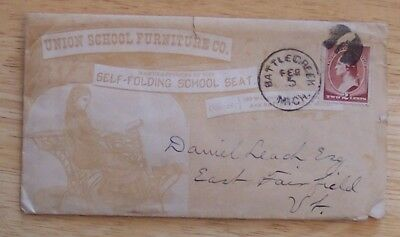 Union School Furniture letter and envelope 1884 Battle Creek Michigan to Vermont