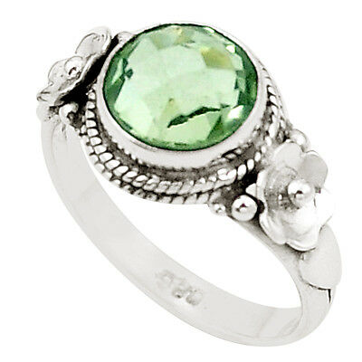 Natural Green Amethyst 925 Sterling Silver Ring Jewelry Size 7 M42383