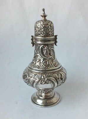 Pretty Antique Victorian Embossed Solid Silver Pepper Pot 1891/ H 10.5 cm/ 54 g