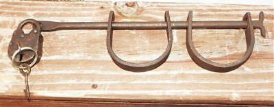 "Original Antique Solid Steel "" RARE CHILD'S SIZE SHACKLES "" Original Lock 2 Keys"