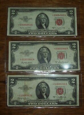 3 Star Note 1953 A,B,C $2 Two Dollar Bills Red Seal Notes * Currency Replacement