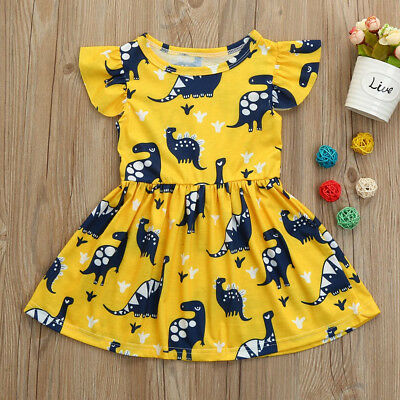 Toddler Kid Baby Girl Short Sleeve Sundress Princess Printing Party Dress Outfit