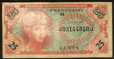 U.s.a. 25 Cents Military Payment Certificate Series 641  Note!! F-Vf