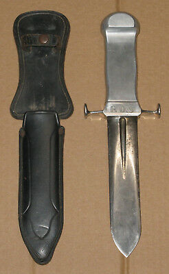 large WWII vintage William Messenger custom made combat knife dagger & sheath