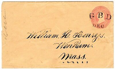 Civil War. GBD, General Banks Division, Military Postmark on U35 to Wenham, Mass