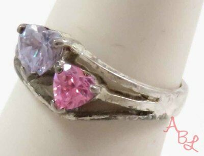 Sterling Silver Vintage 925 Heart Pink & Purple Ring Sz 8 (4g) - 745365