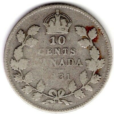 1931 Canada Ten 10 Cent George V Silver Dime Coin