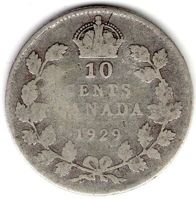 1929 Canada Ten 10 Cent George V Silver Dime Coin