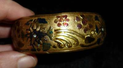 Embossed Enameled Antique Brass Vintage Art Nouveau Bangle Bracelet