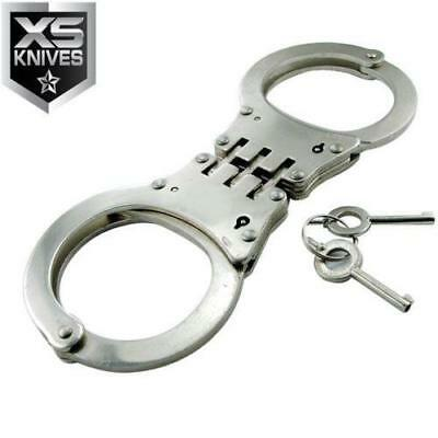 HINGED Handcuffs CHROME Double Lock Hand Cuffs w/POUCH Authentic Police