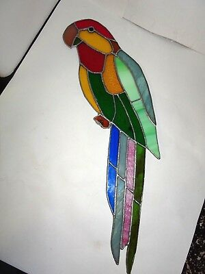 "Vintage 21"" Stained Glass Suncatcher Macaw Parrot On Perch Hanging Jungle Bird"