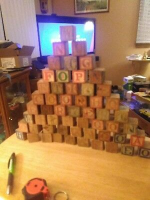 Vintage Wooden  Alphabet building Blocks with Pictures and alphabet  D2
