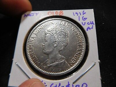 O108 Netherlands 1916 Gulden Very Choice AU Catalog Value XF=$100