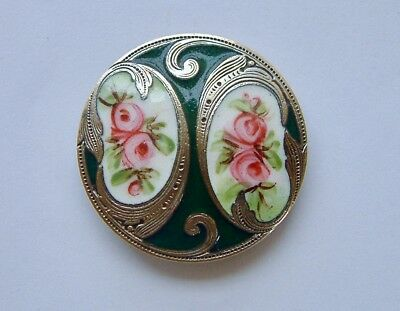 A 32mm LARGE Antique French Green Enamel Button, Large Pink Roses,