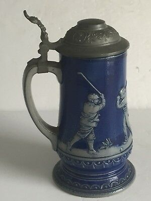 Antique Blue Salt Glaze Simon GERZ German Stoneware GOLFERS GOLFING Trophy Stein