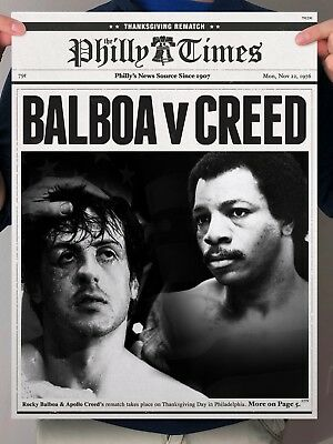 Rocky 2 Balboa vs Apollo Creed Rematch Philly Newspaper Poster Print