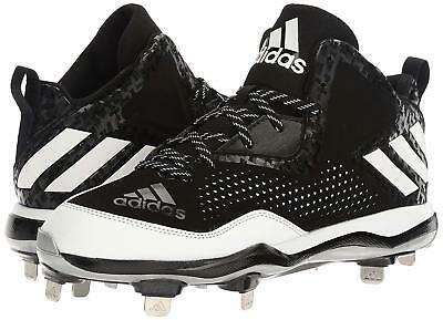 low cost be2cf 1a255 Adidas Mens Performance PowerAlley 4 Mid Metal Baseball Cleats Shoe Black  Size 9