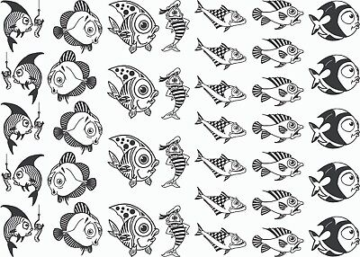 "Funny Fish  5""X7"" Card 37 pcs 1"" Fused Glass Decals 18CC1045"