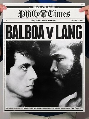 Rocky 3 Balboa vs Clubber Lang Philly Newspaper Poster Print III