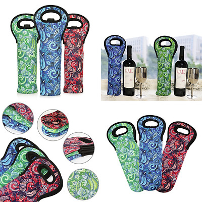 Wine Carrier Tote Bag Paisly Pattern Portable Insulated Neoprene Bottle Holder F