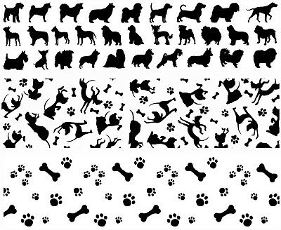 "Dog Strips for Barrettes 3 pcs 1"" X 4"" Black Fused Glass Decals 18CC1053"