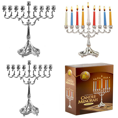 Silver Plated Candle Menorah Fits All Standard Hanukkah Candles Curved Branches