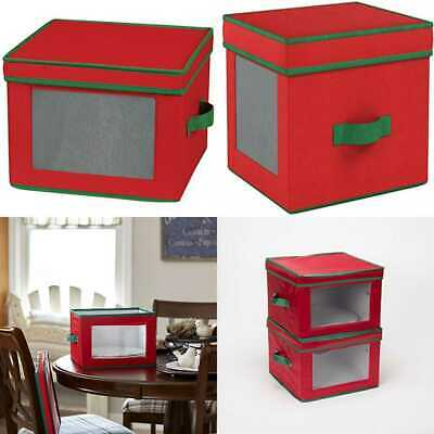 Delicieux 536RED Holiday China Storage Chest W Lid U0026 Handles Dinner Plate RED Canvas  GREEN