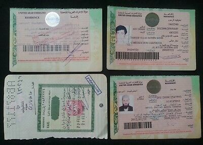 1999-2009 Uae Lot Of 4 Different Visa On Pakistan Passport Pages
