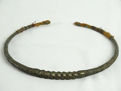 Northern Vietnam Tribal Torque necklace from Yao women silver chased engraved