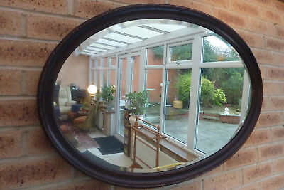 Large Antique Vintage Victorian Mahogany Oval Wall Bevelled Mirror